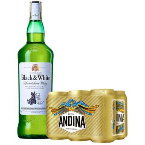 Oferta de Whisky Black & White 700 + Six Pack Andina Lata 355 Ml por $48365