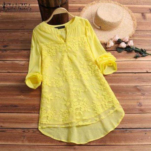 Oferta de ZANZEA las mujeres más del manga larga camiseta floral V del cuello de la blusa holgada del suéter Tops Tee -Amarillo por $66900