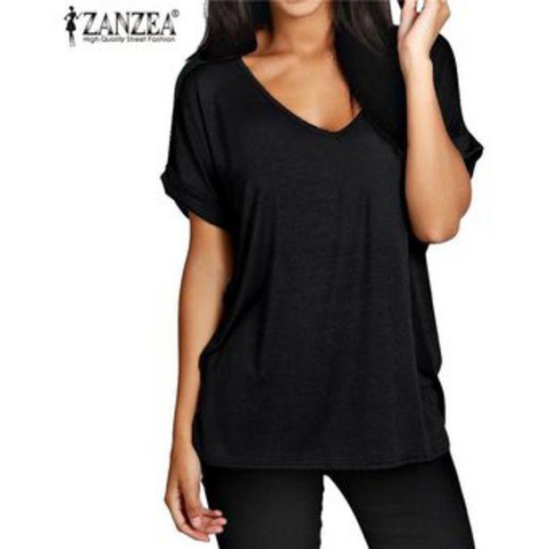 Oferta de ZANZEA Moda Verano T Camisas Manga Corta Nueva floja ocasional tes de las tapas más el tamaño de cuello en V camisetas -Negro por $62900