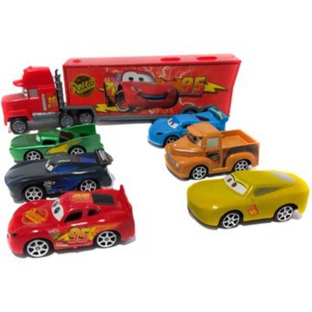 Oferta de Cars Camion Mula Niñera impulso + 6 Carros Rayo MCQUEEN por $39500