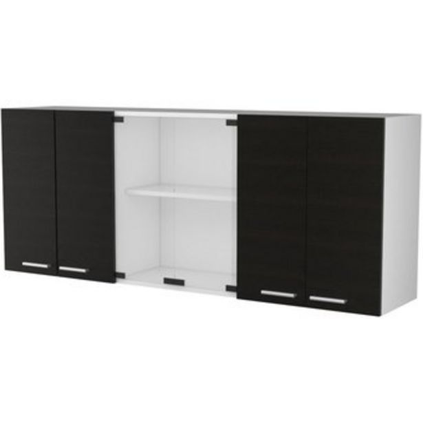 Oferta de Gabinete Superior 150 cm Vidrio con Puertas-Wengue por $309990