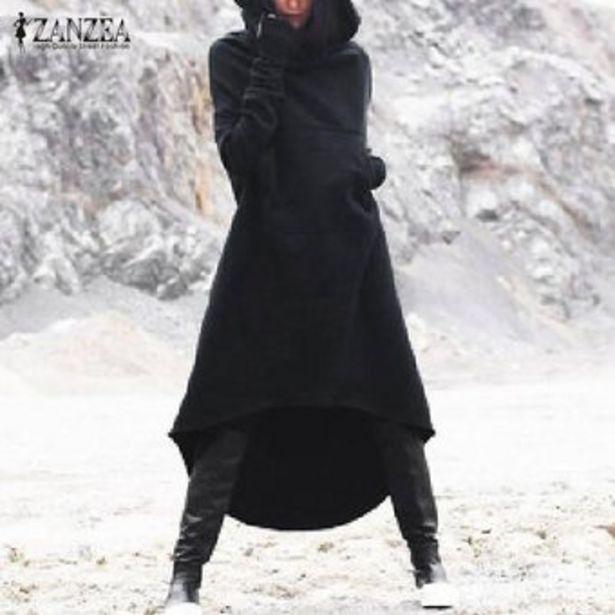Oferta de ZANZEA Otoño Las mujeres de manga larga con capucha suelta Kaftan capa de la chaqueta más el tamaño de vestido más del tamaño -Negro por $88900