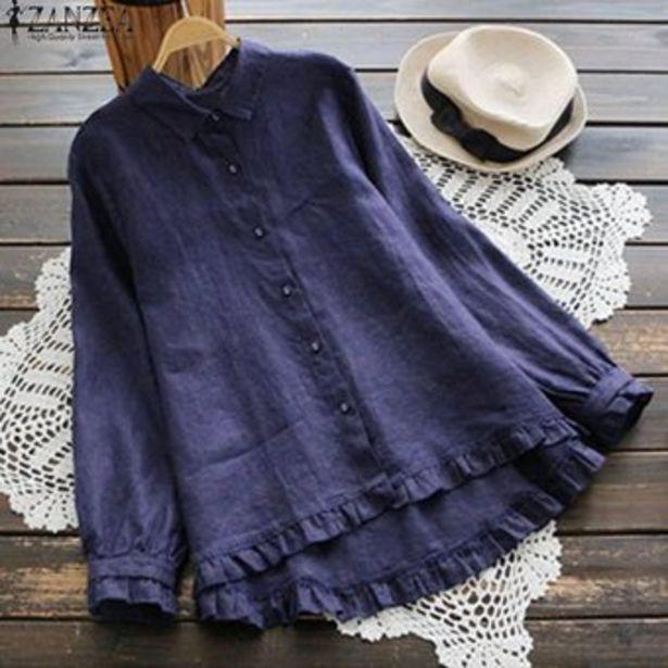 Oferta de ZANZEA Mujeres largo de volantes camisa ocasional Tops Botón flojo plisado dobladillo de la blusa Plus -Azul por $75900