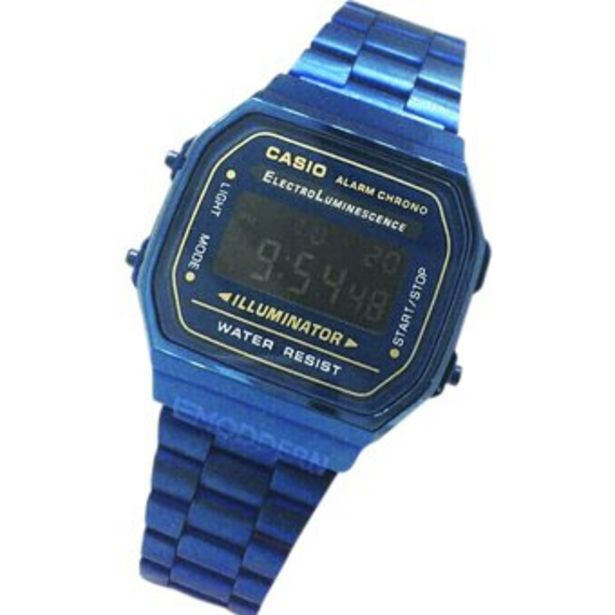 Oferta de Reloj Retro A168 Oro Azul mujer tipo broche por $49900