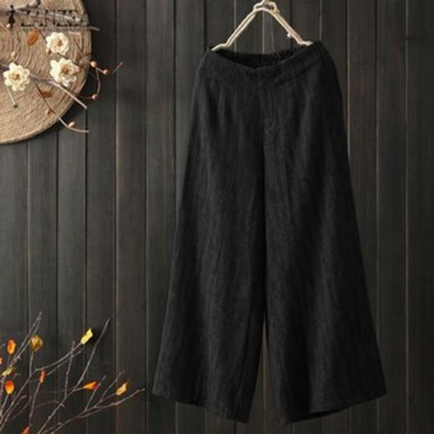 Oferta de ZANZEA alto de las mujeres elásticos de la cintura largo Harem pantalones ocasionales amplia llanura Piernas Pantalones Plus -Negro por $77900