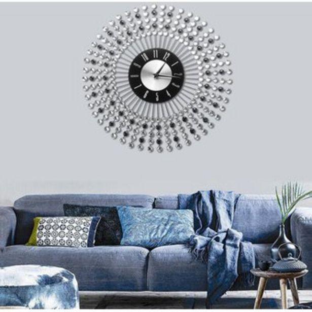Oferta de 43cm reloj de pared de cristal de diamante de Arte Moderno Diseño del resplandor solar con cuentas Jeweled Decoración - Blanco por $219900