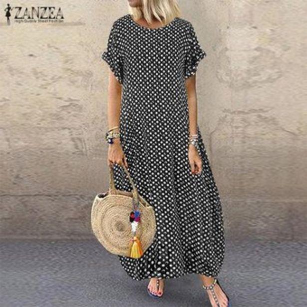 Oferta de ZANZEA verano de las mujeres del lunar de Vestido largo holgados Kaftan vestidos maxi floja ocasional -Negro por $71900