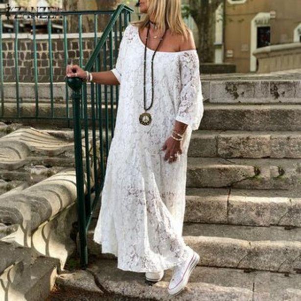 Oferta de ZANZEA Vestido largo de encaje de hombro frío Croceht de mujer Vestido de camisa de playa ahuecada -Blanquecino por $104900