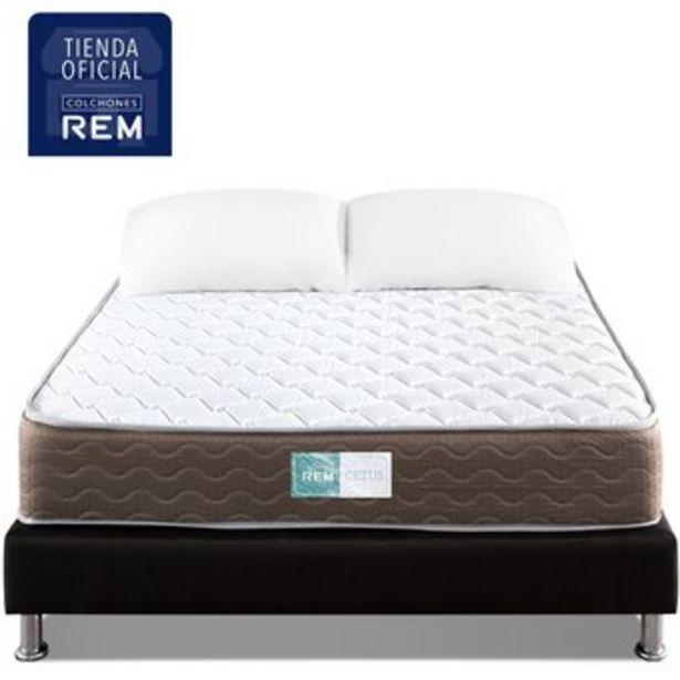 Oferta de Combo Colchon Sencillo 100x190 Rem Cetus Intermedio+BaseCama+1Almohada por $529900