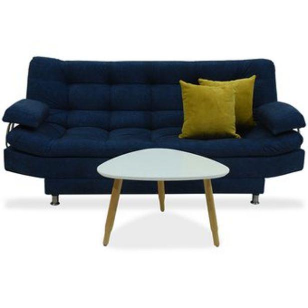 Oferta de Sofá cama Moltochic 3 posiciones con brazos poliéster azul + mesa de centro + cojines mostaza por $819900