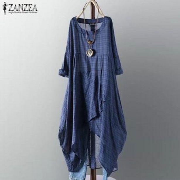 Oferta de ZANZEA Plus para mujer de tela escocesa ocasional de la camisa Comprobar asimétrico vestido de Midi dobladillo irregular -Azul oscuro por $79900