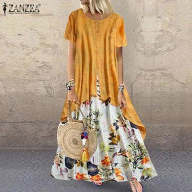 Oferta de ZANZEA más el tamaño S-5XL las mujeres del verano de manga corta camiseta vestido de la impresión floral del vestido de Midi -Amarillo por $89900