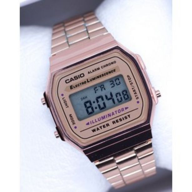 Oferta de Reloj Retro A-168w Oro rosado mujer por $49800