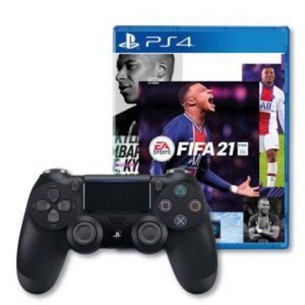 Oferta de Control Inal\u00e1mbrico Dualshoch4 negro+juego Ps4 Fifa2021 por $899