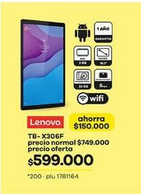Oferta de Tablet Android Lenovo por $599000