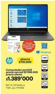 Oferta de Computador Portátil HP por $1389000