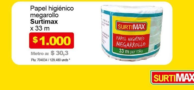 Oferta de Papel higiénico megarollo SURTIMAX 33m  por $1000
