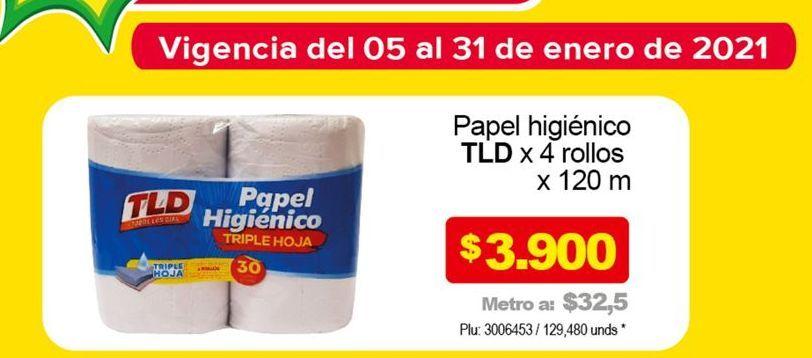 Oferta de Papel higiénico TLD x 4 rollos 120m  por $3900