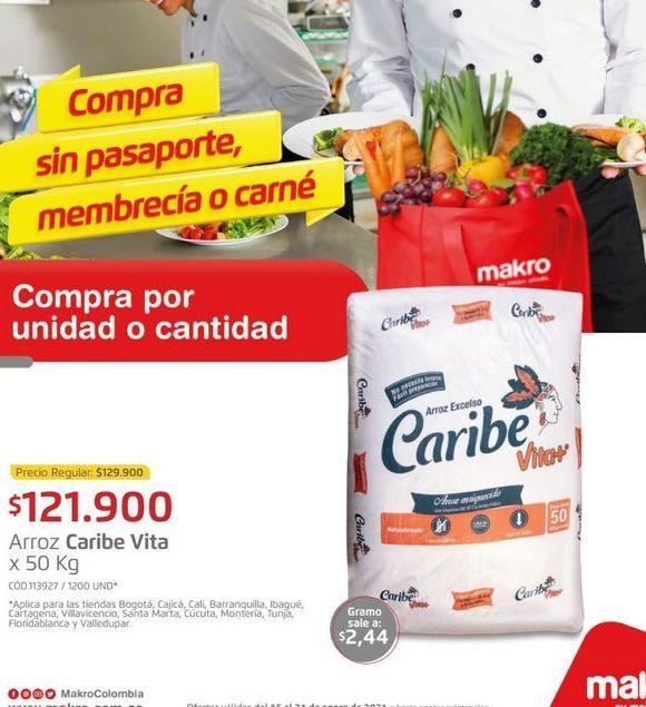 Oferta de Arroz Caribe vita x 50kg  por $121900