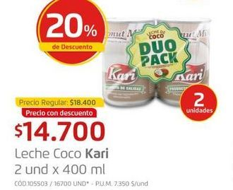 Oferta de Leche coco KARI 400ml  por $14700