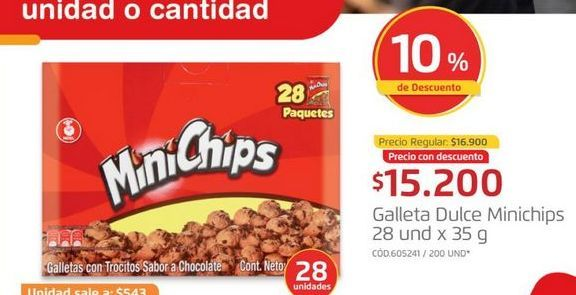 Oferta de Galleta dulce minichips  por $15200