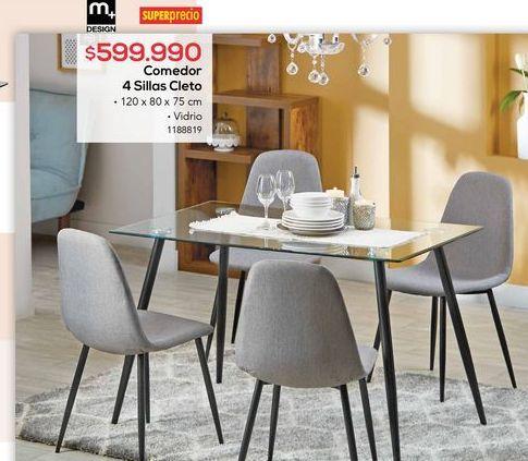 Oferta de Comedor 4 sillas cleto por $599990