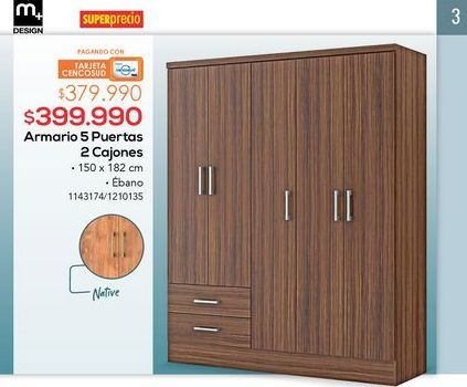 Oferta de Armarios 5 puertas 2 cajones por $399990