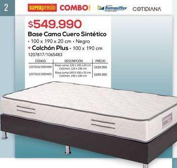 Oferta de Base cama cuero sintetico + colchon plus por $549990
