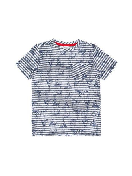 Oferta de Camiseta Estampada A Rayas Y Con Veleros Manga Corta por $35940