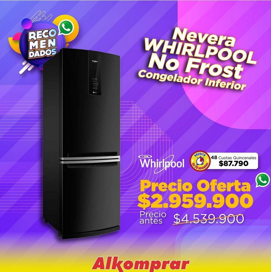Oferta de Nevera Whirlpool no frost congelador inferior  por $2959900