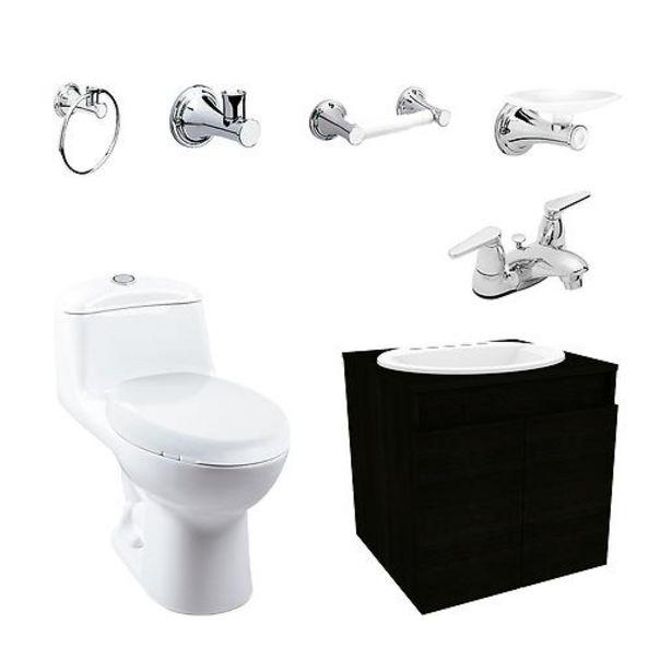 Oferta de Combo Smart AL: Sanitario con taza alongada, mueble elevado con lavamanos, grifería y accesorios por $739900
