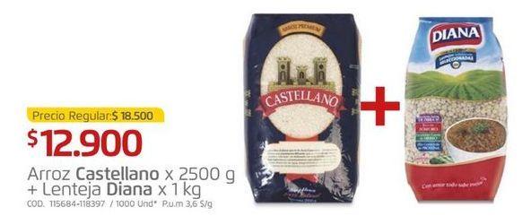 Oferta de Arroz Castellano + lenteja Diana x 1 kg por $12900