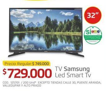 Oferta de Smart tv led 32'' Samsung por $729000