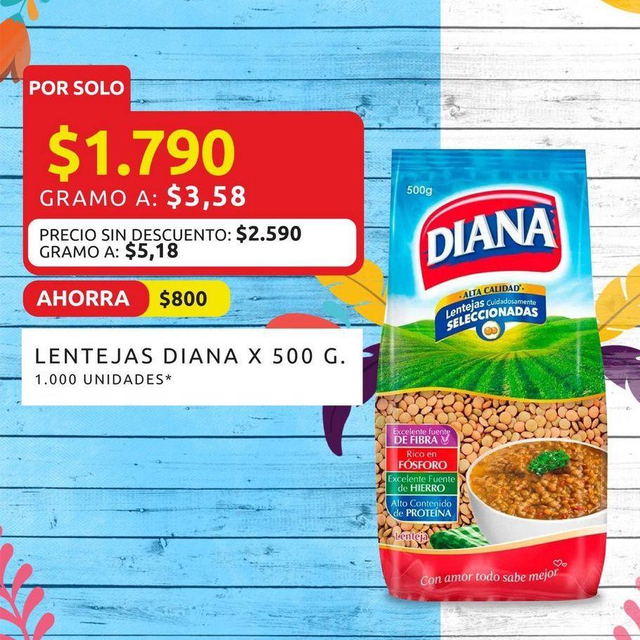 Oferta de Lentejas Diana x 500g  por $1790
