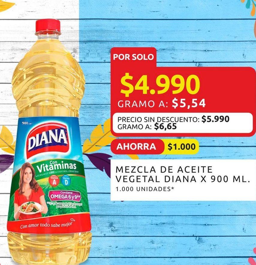 Oferta de Mezcla de aceite vegetal Diana 900ml  por $4990