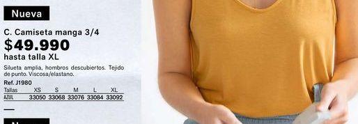 Oferta de Camiseta manga tres cuartos hasta talla XL  por $49990