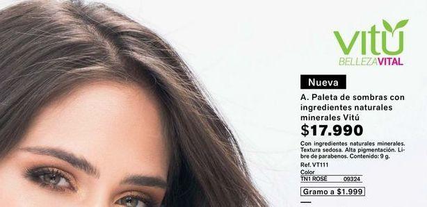Oferta de Paleta de sombras con ingredientes naturales minerales VITU  por $17990