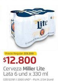 Oferta de Latas de cerveza Miller Lite por $12800