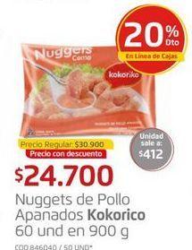Oferta de Nuggets de pollo apanados KOKORICO 60und en 900g  por $24700
