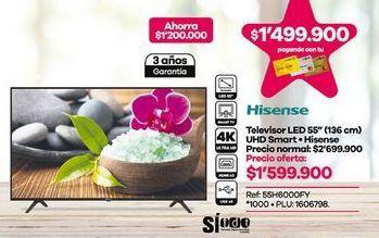Oferta de Smart tv led 55'' Hisense por $1599900