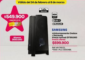 Oferta de Minicomponente Samsung por $599900