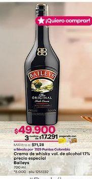 Oferta de Crema de whisky Baileys por $49900