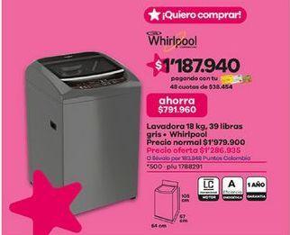 Oferta de Lavadora carga superior Whirlpool por $1286935