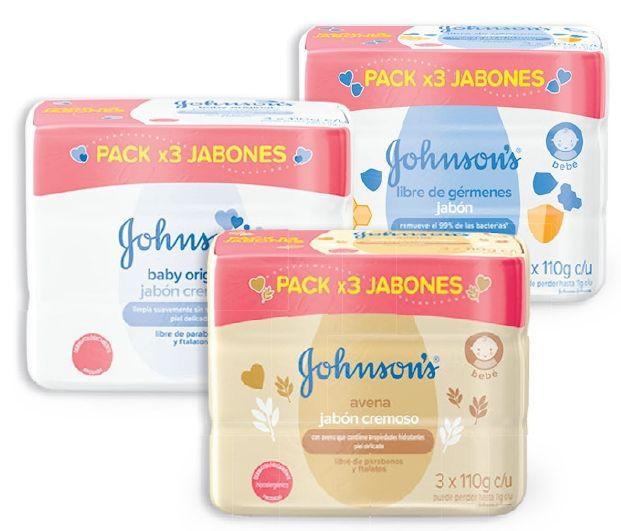 Oferta de En tripack jabón Johnson y Johnson's Baby por