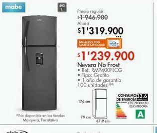 Oferta de Nevera Mabe 400l por $1239900