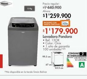 Oferta de Lavadora Haceb 13kg  por $1179900