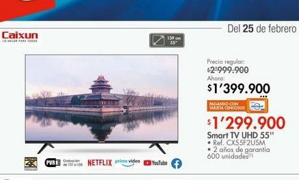 Oferta de Smart tv led 55'' uhd  por $1299900