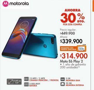 Oferta de Celulares Motorola e6 play 2  por $314900