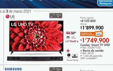 Oferta de Combo: smart tv uhd 55'' + barra de sonido  por $1749900