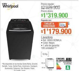Oferta de Lavadora carga superior Whirlpool por $1319900